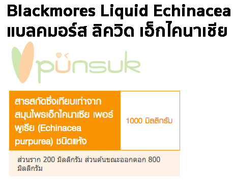 Blackmores Liquid Echinacea 50ml. แบลคมอร์ส ลิควิด เอ็กไคนาเชีย