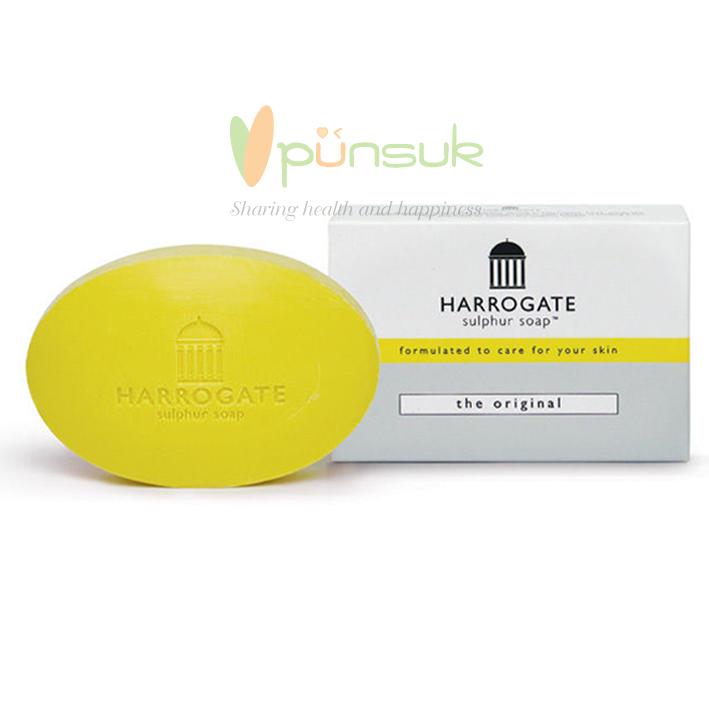 HARROGATE Sulphur Soap - The Original Yellow สีเหลือง สบู่ก้อนใหญ่ 100g. กลิ่นเหมือนสบู่ยาให้ความรู้สึกสะอาด