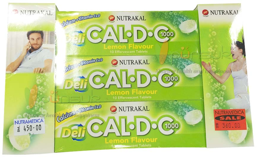 NUTRAKAL CALCIUM PLUS SUPPLEMENT (DELI CAL-D-C 1000 Lemon Flavour 10 Effervescent Tablets X 5 Packs)